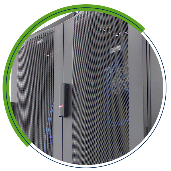 close up of data storage cabinets with green half-circle background
